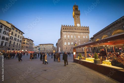 Italia,Toscana,Firenze,Loggia dei Lanzi e Palazzo Vecchio