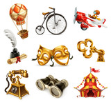 Old objects. Vintage icon set, 3d vector