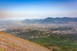Foggy view of towns south of Mount Vesuvius