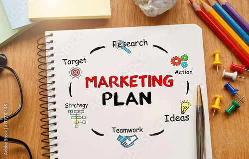 Poster Notebook with Toolls and Notes about Marketing Plan