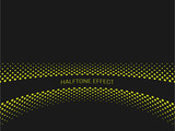 Halftone effect title strip with yellow text on dark grey background. Vector illustration.
