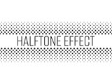 Halftone effect title strip with black text on white background. Vector illustration.