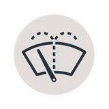 Icono plano limpiaparabrisas en circulo gris