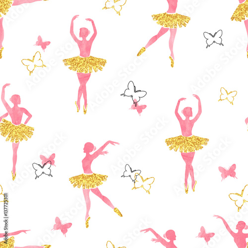 Seamless pattern with dancing ballerinas and butterflies in watercolor pink and glittering gold colors. Vector illustration.  - 137725301