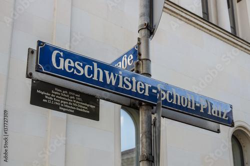 Street sign of the Geschwister-Scholl-Platz in Munich, Germany, 2015