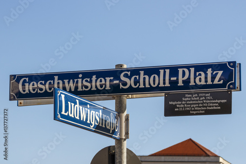 Street sign of the Geschwister-Scholl-Platz in Munich, Germany, 2015 Poster