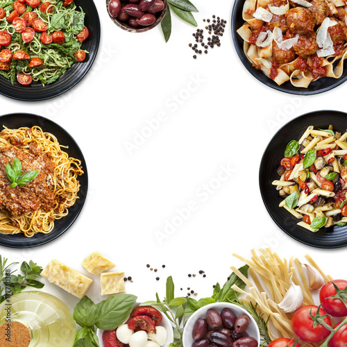 Poster Italian Food Collage Pasta Meals and Ingredients