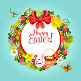 Easter floral wreath frame for festive card design