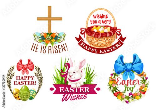 Easter egg, rabbit, flowers cartoon emblem set