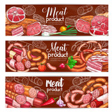 Butchery meat and sausages products vector banners