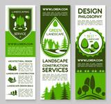 Landscape design service vector banners set