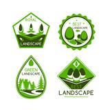 Landscape design vector icons or emblems set
