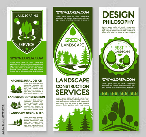 Foto op Canvas Wit Landscape design service vector banners set