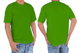 Man wearing blank green color t-shirt with clipping path, front and back view