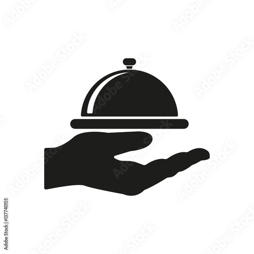 Tray in hand icon. Restaurant, service, banquet, lunch symbol. Flat design. Stock - Vector illustration