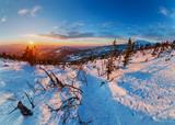 Ski resort Sheregesh sunset