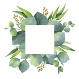 Watercolor square wreath with eucalyptus leaves and branches. - 137745137