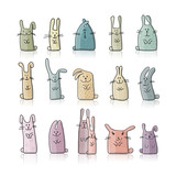 Fototapety Funny rabbits collection for your design