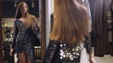 Girl in a clothing store, girl in a dress in front of mirror. 4k footage.