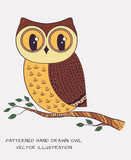 Hand drawn owl. Vector illustration.
