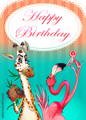 Foto op Canvas Kinderkamer Happy Birthday card with funny animals