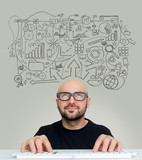 Hand drawn Complex schema going out of the head of a Young attractive bold man geek with glasses