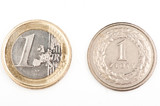 1 Euro and 1 zloty