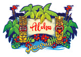 Hawaii. Tiki statues and a banner - 137771701