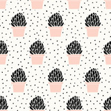 Hand Drawn Succulent Pattern - 137772995