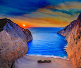 Navagio beach at sunset, Zakynthos island, Greece