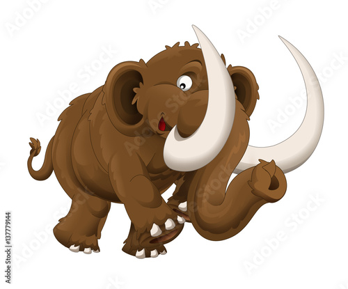 cartoon happy mammoth - isolated - illustration for children - 137779144