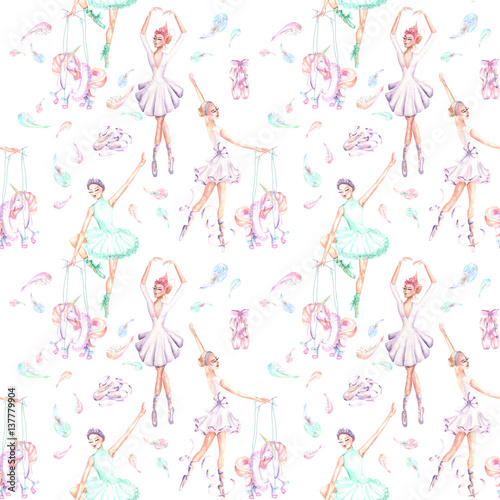 Seamless pattern with watercolor ballet dancers, puppet unicorns, feathers and pointe shoes, hand drawn isolated on a white background - 137779904