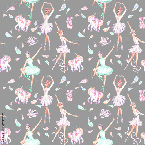 Seamless pattern with watercolor ballet dancers, puppet unicorns, feathers and pointe shoes, hand drawn isolated on a grey background - 137779973