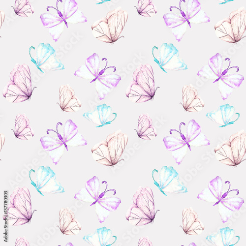 Seamless pattern with watercolor tender purple and mint butterflies, hand drawn isolated on a light purple  background - 137780303