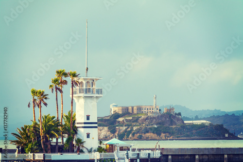 Poster lighthouse with Alcatraz island in the background