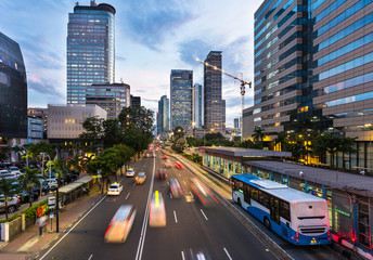 Traffic rushing in Jakarta business district in Indonesia capital city