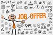 Job Offer / Mann mit Symbole