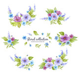 Watercolor floral collection with flower arrangements of flowers, leaves, branches and flower buds.