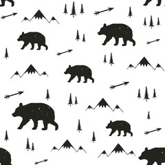 Vector illustration with stylish cartoon seamless pattern. Bear, pine trees, arrows and mountains