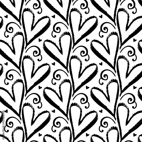 Cotton fabric Pattern with hand drawn hearts