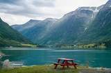 Camp table on the fjord shore, Norway.