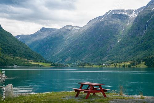 Papiers peints Bleu vert Camp table on the fjord shore, Norway.