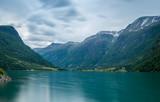 Oldevatnet fjord long exposure landscape, Norway.