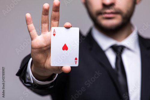 Plakat playing cards luck on grey background.