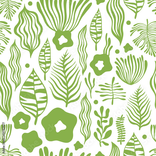 Vector flower pattern. Seamless botanic texture, detailed flowers illustrations. Can be used for wallpaper, web page background, surface textures © Olga
