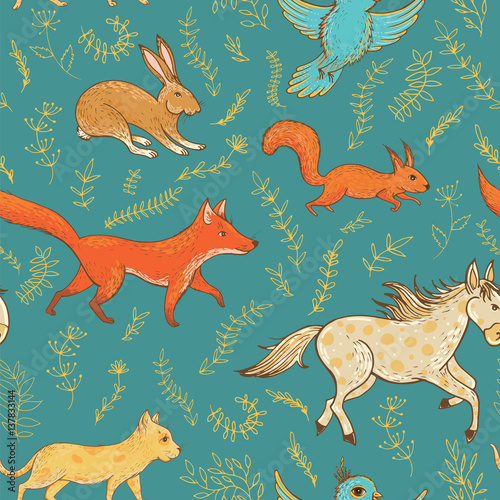 Materiał do szycia Vector seamless pattern with cute animals and plants