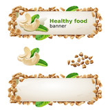 Set banners with cashew and ground nuts.