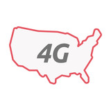 Isolated line art USA map with    the text 4G