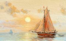 """Постер, картина, фотообои """"Sea, boats, fisherman, oil paintings"""""""