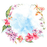 Exotic round frame, flowers, twigs and leaves.